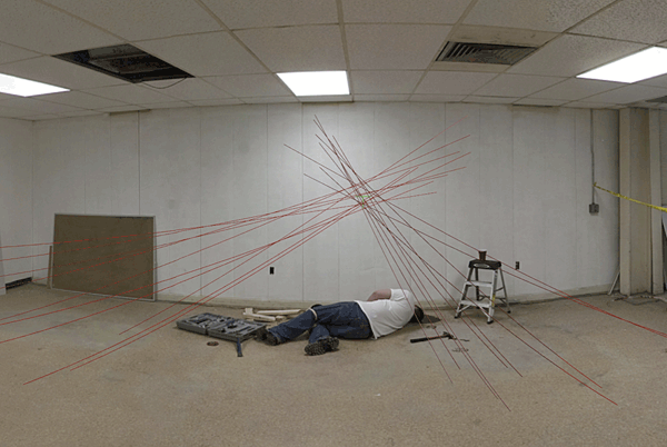 ISP - Panoramic crime scene photo with HemoSpat data